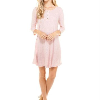 Women's 3/4  Sleeve Button Down Dress