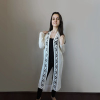 FREE SHIPPING Duster coat Long cardigan Extra long sweater Crochet hem Ivory Lace Light summer spring cardigan Womens knit elegant cardigan