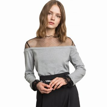 Simple and stylish  lace mesh splicing perspective sweater