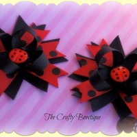 20% off Ladybug Red and Black Polkadot Clippie Pigtail Set, Girls Hair Bow, Toddler Hair Bow, Baby Hair Bow