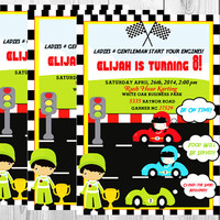 Race Car Invitation and  Printable Package (YOU CHOOSE)