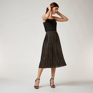 METALLIC SPOT PLEATED SKIRT