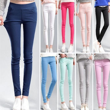 The New 14 Colors Candy Color Color Pencil Pants Leggings Elastic Fabric Women's Trousers S-3XL Tight Trousers [9325215236]