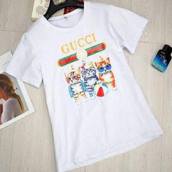 LMFIH3 GUCCI Stylish Round Collar Three Little Kittens Print T-Shirt Pullover Top White