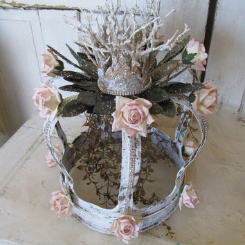 Huge metal French crown handmade ornate home decor shabby cottage pink roses and fancy embellishments. by Anita Spero