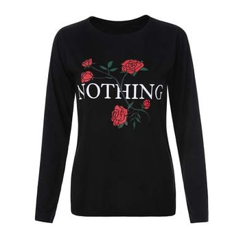 Fashion printed letters Long sleeves T-Shirt Top