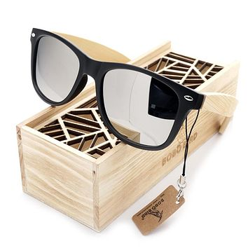 BLACK SQUARE SUNGLASSES LADY WITH BAMBOO MIRRORED POLARIZED TRAVEL EYEWEAR