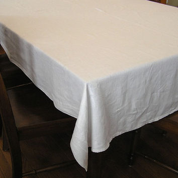 Vintage 1960s White Damask Linen Tablecloth, 88 x 68 Inches, Roses Pattern, ~~by Victorian Wardrobe