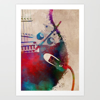 guitar art 4 #guitar #music Art Print by jbjart