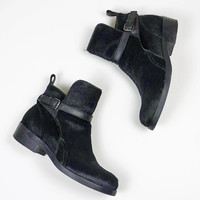 Acne Black Calf Hair Ankle Boots