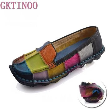 Handmade vintage women's shoes genuine leather female moccasins loafers soft cow muscle outsole casual shoes flats