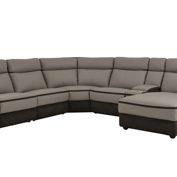 Home Elegance 8318-6B 6 pc laertes collection two tone grey top grain leather and darker tone fabric upholstered power reclining sectional sofa