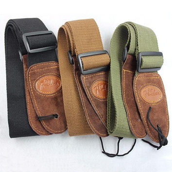 Widening Folk Acoustic Electric Guitar Bass Cotton Adjustable Belt Guitar Strap