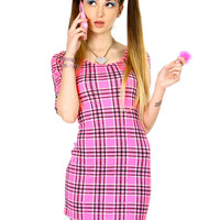 AS IF PLAID PINK DRESS