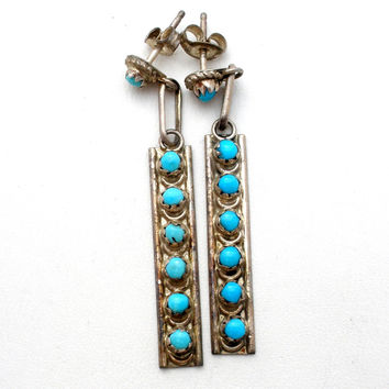 Sterling Silver Petit Point Turquoise Earrings
