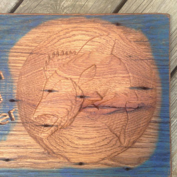 Catch You Later Fish Christian Trust Jesus Door Wall Wooden Sign Holy Primitive Rustic Original One of a Kind Blue and Golden Oak Brown lcww