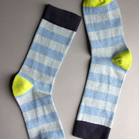 Heather Blue and Lime Rugby Stripe Socks