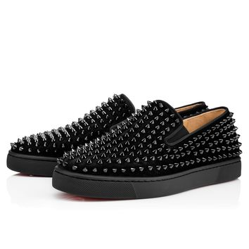 Best Online Sale Christian Louboutin Cl Roller-boat Men's Flat Black/black/bk Suede 12s Shoes 1120387b049
