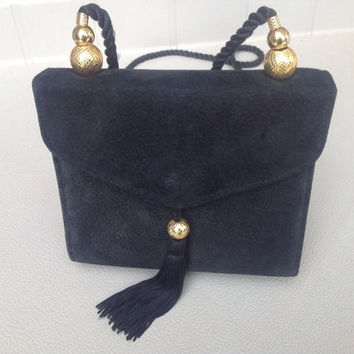 Black Suede Vintage Evening Bag with Gold Accents