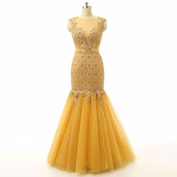Gold Mermaid Cap sleeve Applique Tulle Special Evening dress
