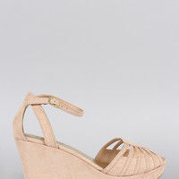 Bamboo Intricate Peep Toe Wedge