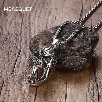 Meaeguet Punk Devil Tusk Skull Pendant Necklace Men Stainless Steel Chain Collier Domineering Personality Necklaces Jewelry