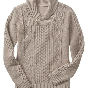 Gap Men Factory Nepped Cable Knit Shawl Sweater