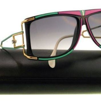 AUGUAU Cazal Sunglasses Pink/Green/Black-Gold Gradient Grey