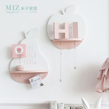 Miz Home Apple Pear Shape Shelf With Hook Lovely Home Decoration Storage Board Wall Decor for Living Room