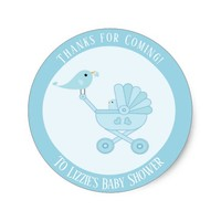 Thanks for Coming Blue Boy Baby Shower Sticker