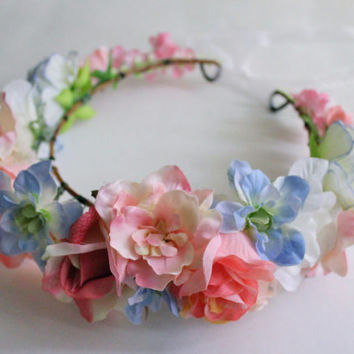 Pink Flower Crown, Pastel Flower Crown, Flower Headband, Wedding Floral Headpiece, Bridal Flower Crown, Quincenera Crown, Coachella Headband