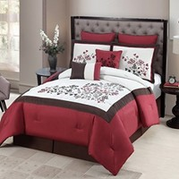 Geneva Home Fashion 8-Piece Aaron Embroidered Comforter, Queen, Red
