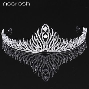 Mecresh Elegant Crystal Bride Tiaras Crowns Newest Style Plant shape Silver Color Wedding Hair Accessories Party Gift MHG074