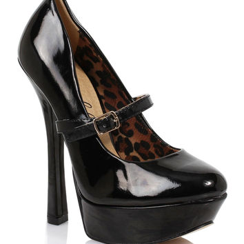 Black Patent Closed Toe Payton Mary Jane Heels