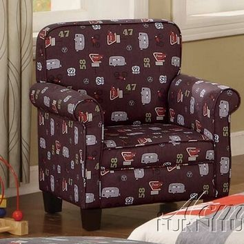 Recreation travel pattern childrens size accent chair with rolled arms