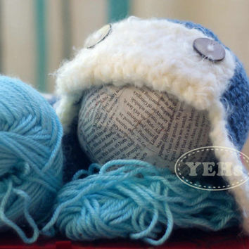 Blue Aviator Baby Hat with coconut buttons