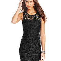 As U Wish Juniors' Lace Cutout Bodycon Dress