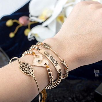 eManco Stylish Simple Hollow Oval Heart Bracelets Multi-layers Charms Bracelets & Bangles for Women Beads Ancient Brand Jewelry