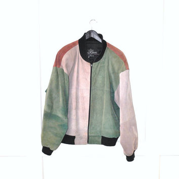 patchwork leather jacket 80s SUEDE bomber jacket 1980s Oleg Cassini vintage color blocked UNISEX leather bomber jacket os