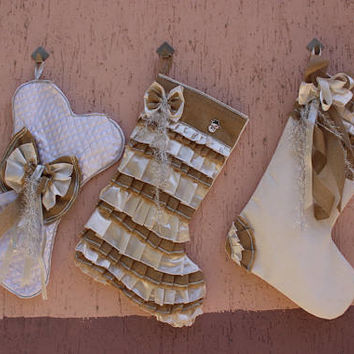 BUY 3 GET 1 FREE  Shabby Chic Stocking Set White Stocking Set Burlap Stocking Set Bone Stocking