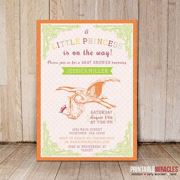 Girl baby shower invitation / Printable vintage stork baby shower invite / Little princess baby shower invitations / Customized digital file