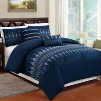 High Quality Brushed Microfiber 5-pc Navy Blue Comforter Bedding Set with White & Blue Embroidery Design, King / Cali King Size