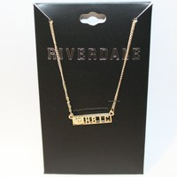 Licensed cool Riverdale Jughead Jones Crown HBIC Bar Pendant Necklace Gold Tone Licensed NWT