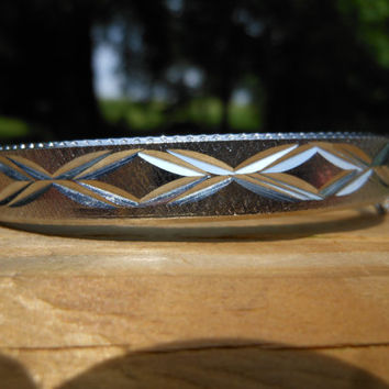 Hinged Bangle Bracelet Safety Chain Silver Tone Metal Etched Diamond Cut Design Tongue Groove Clasp Made in Hong Kong 1970s Vintage Jewelry
