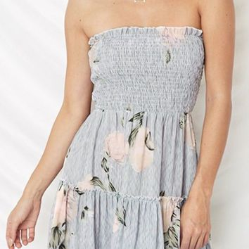 I'm Into You Blue Grey Floral Pattern Strapless Smocked Ruffle Casual A Line Flare Mini Dress