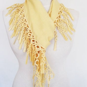 Light Yellow PASHMINA SCARF With Fringed Lace, Spring Sale, For Women, Wedding, For Gift