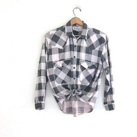 Vintage pink and gray Buffalo check Plaid Flannel / wash out Grunge Shirt / distressed cotton shirt