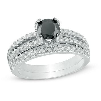 1-1/4 CT. T.W. Enhanced Black and White Diamond Split Shank Bridal Engagement Ring Set in 14K White Gold