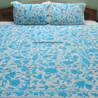 CIJ Sale/Light Sky Blue/Ceramic Blue White Bedspread/Embroidered Aqua/Cotton pastel sheet/baby blue floral Bedding/King size/Queen size