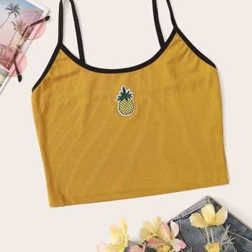 Pineapple Detail Rib-knit Crop Cami Top
